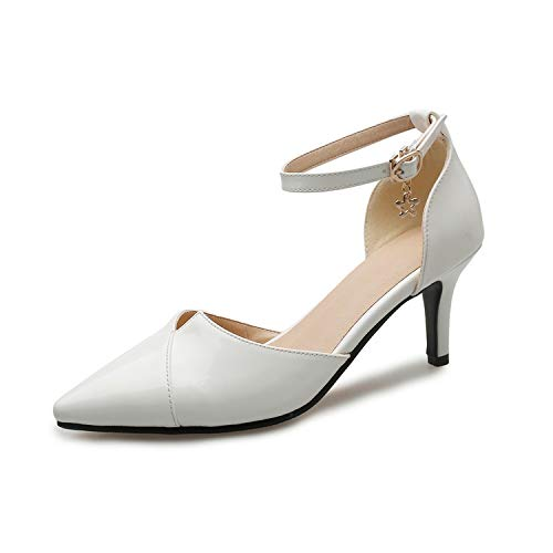 Women Sandals Hollow Thin High Heel PU Leather Ankle Strap Buckle,White,12