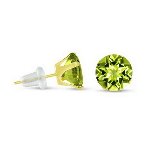 (Crookston Round Genuine Green Peridot 10K Yellow Gold Stud Earrings - Choose Your Size | Model ERRNGS - 14750 | 3mm - Small)