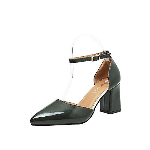 PUMPS Lady Korean Version der Dicken Ferse Schuhe,Zinke High Heels,Helles Gesicht ein Wort mit Schnalle Schuhe,Schuhe mit Hohlen-C Fußlänge=22.3CM(8.8Inch)