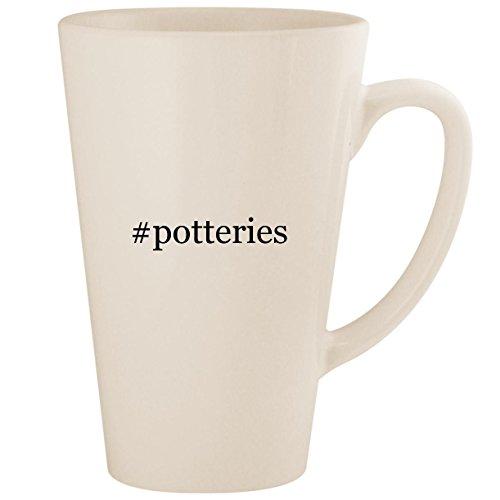 #potteries - White Hashtag 17oz Ceramic Latte Mug Cup ()