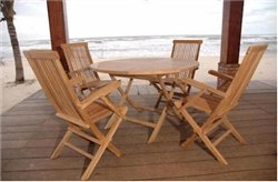 Anderson Teak Bahama Classic Folding Armchair 5-Pieces Dining Set ()
