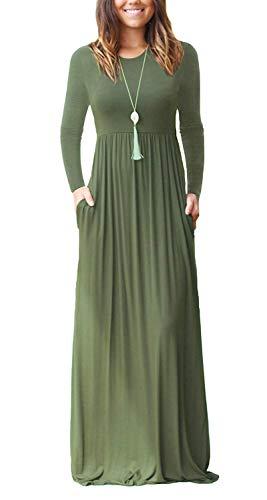 Fantastic Zone Women Long Sleeve Loose Plain Maxi Dresses Ca
