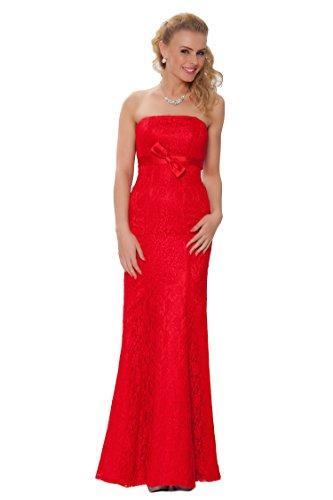 SEXYHER Gorgeous Encuadre de cuerpo entero sin tirantes de las damas de honor vestido de noche formal - EDJ1444 Rojo