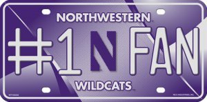 Rico NCAA Northwestern Wildcats #1 Fan Metal License Plate Tag, Purple, 6'' x 12''