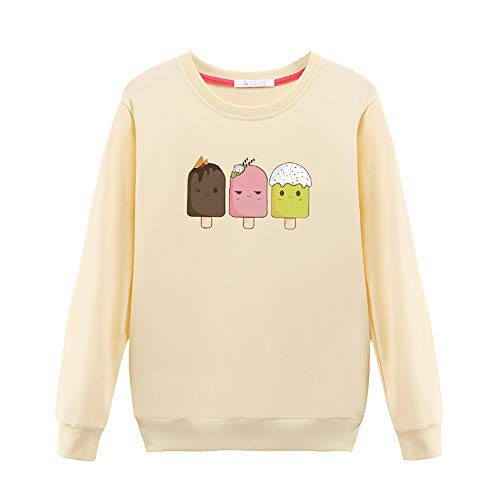 (GOWOM Women Casual Long-Sleeved Japan Korean T Shirt Printed with Round Collar Blouse(Yellow,X-Large))