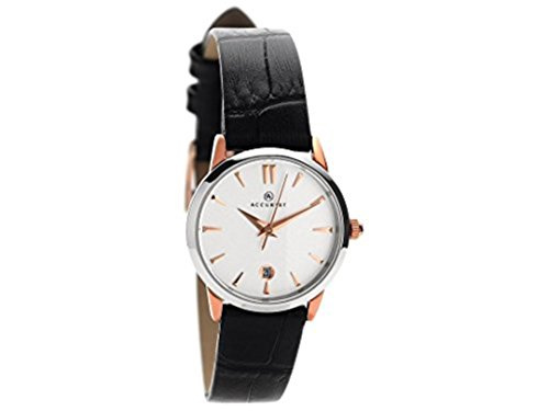 Accurist Ladies White Dial Black Leather Strap Watch 8073