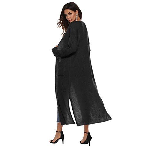 Cardigan Avec Maxi Ouverte Pour Cape couleur Taille Xl Longues Noir Femmes Zhrui Manches Café qw1566Z