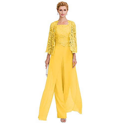 (TS Pantsuit Straps Floor Length Chiffon Corded Lace Split Front Mother of The Bride Dress with Appliques Vibrant Yellow )