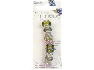 Mix and Mingle Glass and Metal Lined Beads, Mauve/Green