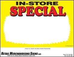 - YZA211 Price Sign Laser Cards In Store Special PC Printable (3 Sizes Available 100 8 1/2