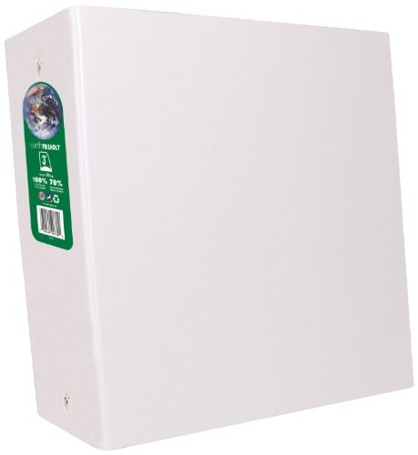 Aurora Recycled D-ring Binder - Aurora GB Elements Ultra Binder, 3 Inch D-Ring, 8 1/2 x 11 Inch Size, White , Linen Embossed, Eco-Friendly, Recyclable, Made in USA (AUA09411)