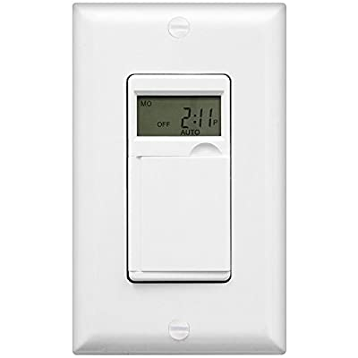 Enerlites HET01-C Programmable Timer Switch Digital Timer Switch for Lights, Fans, Motors, Timer in wall, 7-Day 18 ON/OFF Timer Settings, NEUTRAL WIRE REQUIRED, White