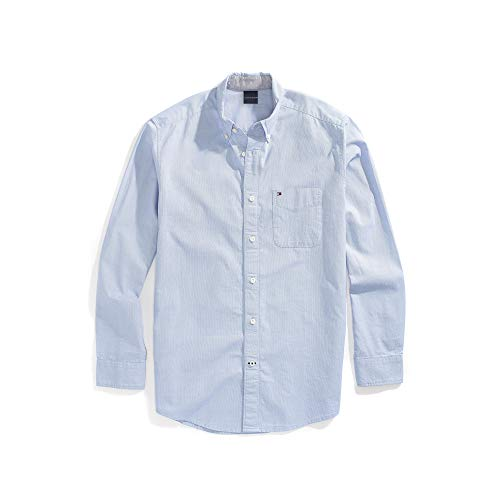 Tommy Hilfiger Men's Magnetic Button Shirt Regular Fit, Collection Blue, Medium - Tommy Hilfiger Collection