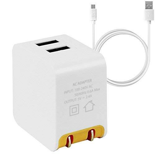 Cellet Universal High Powered 12W/2.4A Dual USB Home Charger Compatible to Amazon Kindle, Amazon Fire Tablets, eReaders and Echo Dot, Paperwhite, Oasis (4 ft. Micro USB Cable Included) - Orange
