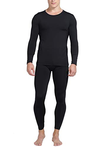 Mens Thermal Underwear Fleece Lined Basic Long John Set Ultra Soft Black