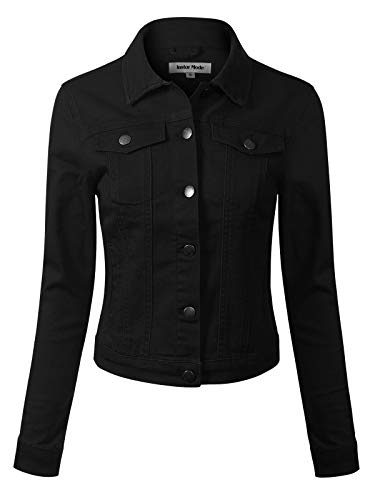 Design by Olivia Women's Solid Button Down Long Sleeve Classic Outerwear Cropped Denim Jacket Black 2XL