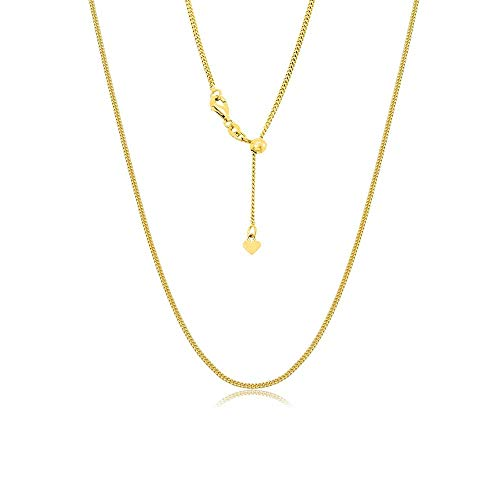 Sterling Silver Italian Adjustable Cuban Curb Bolo Necklace Chain for Women- Thin Adjustable Necklace in 4 Colors (Gold)