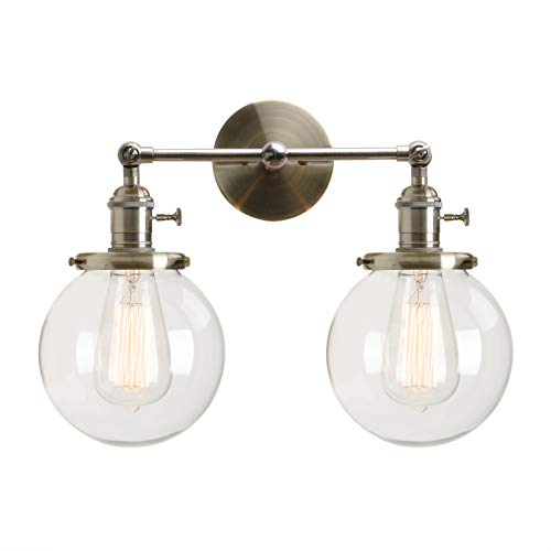 Bronze Double Arm Sconce - Permo Double Sconce Vintage Industrial Antique 2-Lights Wall Sconces with Dual Mini 5.9