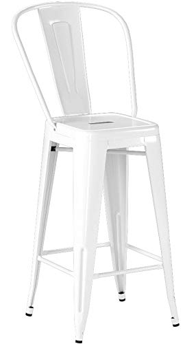 Flash Furniture 4 Pk. 24'' High White Metal Indoor-Outdoor Counter Height Stool with Back - Set of 4 Bistro Style Counter Stools Curved Back with Vertical Slat Seat Drain Hole assists in drying - patio-furniture, patio-chairs, patio - 31NiL8swXbL -