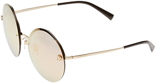 Versace Women's VE2176 Pale Gold/Grey Mirror Rose Gold Sunglasses by Versace