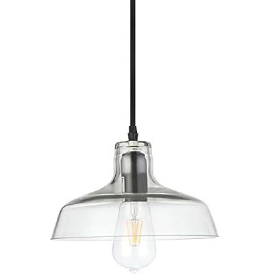 "VONN VVP21141BZ Industrial 10"" LED Pendant Light, Industrial Pendant Lighting with LED Filament Bulb, Adjustable Hanging Barn Light, Delphinus Collection, Architectural Bronze"