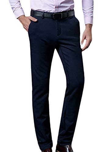 Hulday Long Simple Nner Homme Formel Automne Slim Printemps Costume Pantalon Dunkelblau Fit Business Style Chino YqfSYr