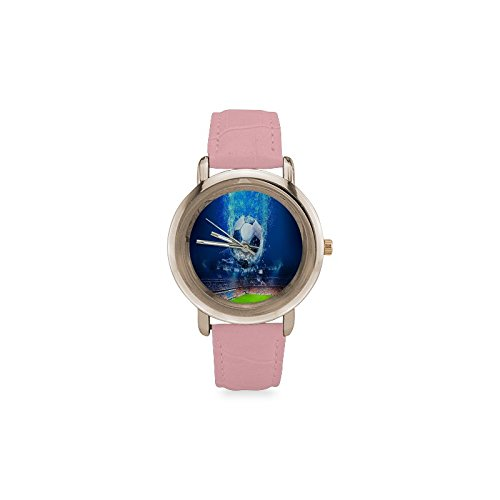 Soccer Ball Football Pattern Women's Rose Gold Leather Strap Watch by Unknown