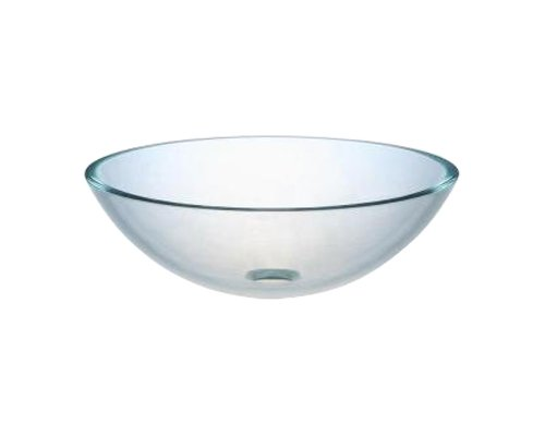 Ambassador Marine Half Sphere Glass Vessel Clear Smooth Glass Sink, 12 Inch  Diameter X 4 3/4 Inch Deep
