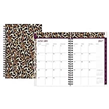 Nicole Miller Weekly/Monthly Planner, 5in. x 8in., 50% Recycled, Leopard, January to December 2017