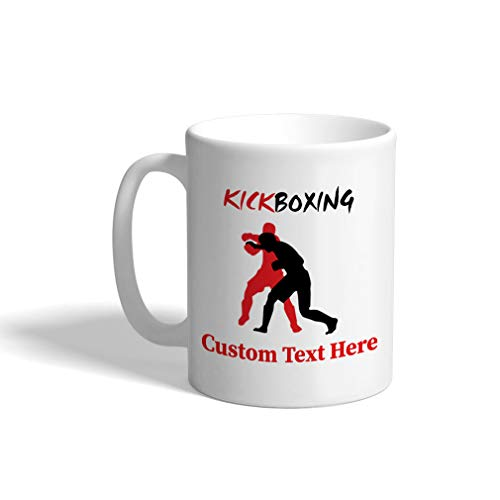 Custom Funny Coffee Mug Coffee Cup Kickboxing Kickboxer Sport White Ceramic Tea Cup 11 Ounces Personalized Text Here