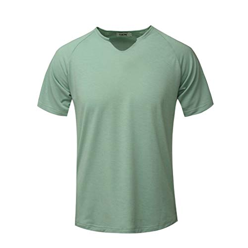 Fashion Men's Short Sleeve Solid Comfortable Casual Slim T-Shirt Sport Tops Green