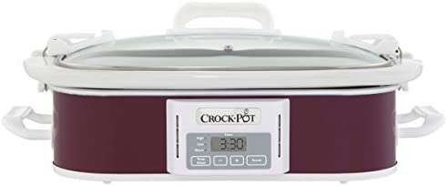 Crock Pot 3.5 Quart Programmable Digital Casserole Crock Slow Cooker, Cranberry