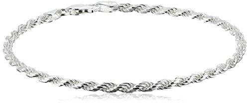 Bracelet Womens Rope Bracelet (Sterling Silver 060-Gauge Diamond-Cut Bracelet, 8