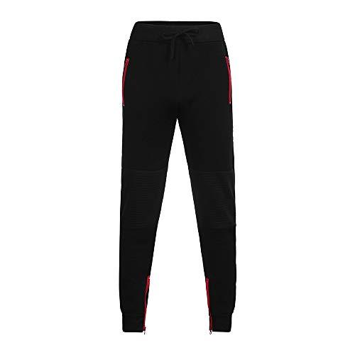 ANJUNIE Mens Fleece Joggers Pants Patchwork Zipper Drawstring Sweatpants Running Trouser (1-Black,M)