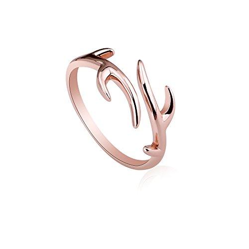 choice of all Fashion Vintage Antler Ring - Rose Gold Open Christmas Deer Reindeer Antler Ring Adjustable Gifts (A:Rose Gold)