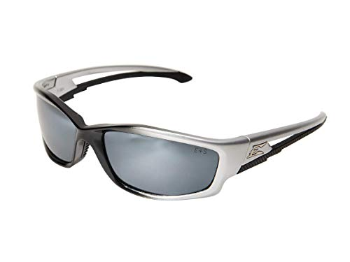 (Edge Eyewear TSK21-G15-7 Kazbek Polarized Safety Glasses, Black with G-15 Silver Mirror Lens (Renewed))