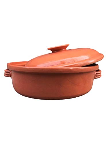 - Casserole Dish,Glazed Natural Cooker/Roaster, Turkey Large Size Cooking Tureen, Clay Covered Casserole for Slow Cooking (14