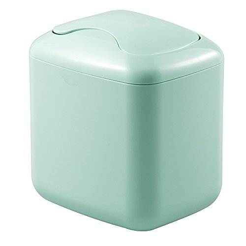 Kids Wastebaskets (mDesign Small Mini Plastic Modern Wastebasket Trash Can Dispenser with Swing Lid for Bathroom Vanity Countertops, Tabletop - Dispose of Cotton Rounds, Makeup Sponges, Tissues - Light Mint)