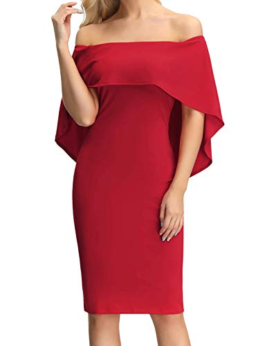 Women's Off Shoulder Short Sleeve Bodycon Midi Cocktail Evening Dress Red M ()