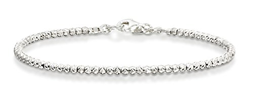 Sterling Silver Diamond Cut Bead - Rhodium Plated Diamond-Cut 925 Sterling Silver 2.5 mm Beads Bracelet, 7