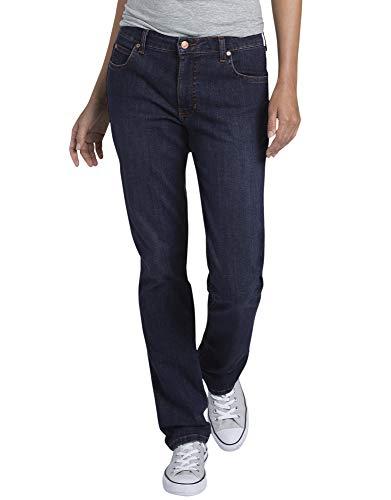Dickies Women's Perfect Shape Denim Jean - Straight Stretch, Rinsed Indigo Blue, 16RG