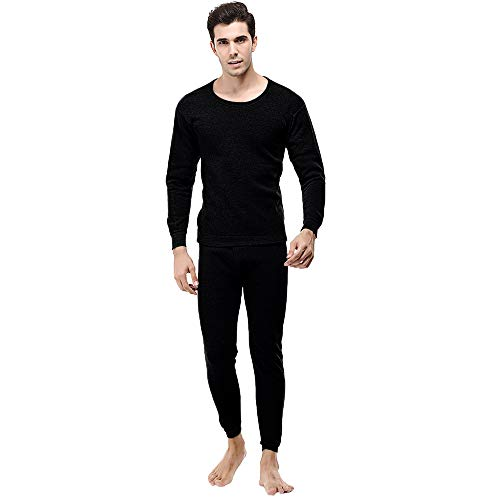 Price comparison product image Mens Slim Round Neck Underwear Set Charberry Winter Thermal Suit Circular Collar Pure Color Cashmere Set