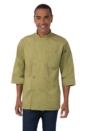 Chef Works Mens Morocco Short Sleeve Chef Coat, Lime, MEDIUM