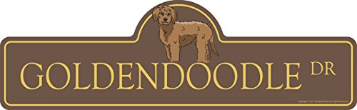 Goldendoodle Street Sign | Indoor/Outdoor | Dog Lover Funny Home Décor for Garages, Living Rooms, Bedroom, Offices | SignMission Personalized Gift | 18