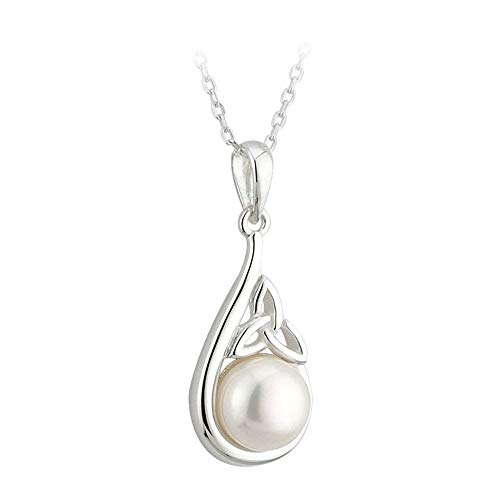 Sterling Silver Half Pearl Irish Trinity Knot Pendant and Earrings by -
