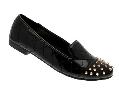 NEW LADIES Black LOAFERS WOMENS Outlet STUDS 8 LD 3 SLIPPERS SHOES STUDDED PUMPS FLATS SPIKE Patent GIRLS BALLET MUKES SF6wx5Uw
