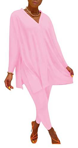Womens 2 Piece Outfit Sets Split Loose Fit T Shirt Tops + Workout Leggings Pants Tracksuit Set Jogger Sportwear