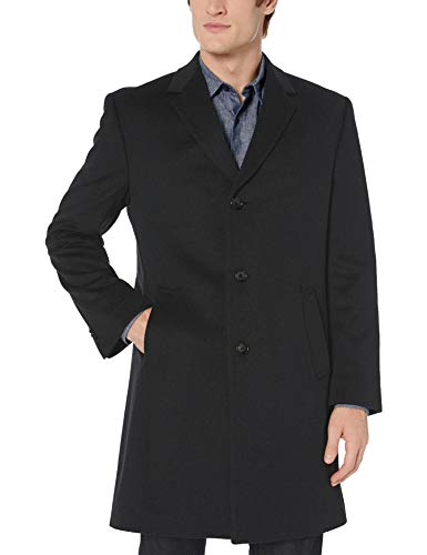 Kenneth Cole REACTION Men's Raburn Wool Top Coat, Black, 40 Regular