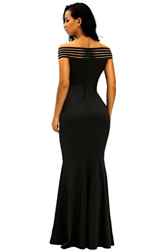 Élégant femmes Noir Off épaule Longueur complète pour robe de soirée de soirée Party Dance Club Wear Taille M UK 10–12–EU 38–40