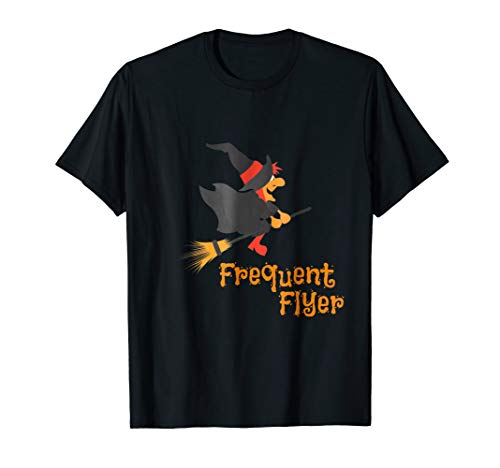 Frequent Flyer Witch on Broomstick Funny Halloween Costume